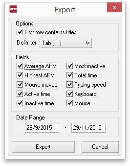 Desktop APM Export